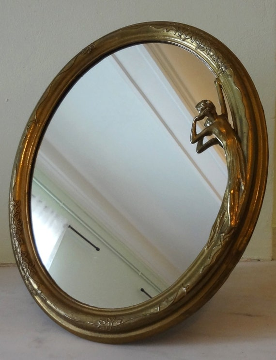 Art Nouveau Inspired Sculpted Table Mirror - Can be hung on wall or stood on table - 2 TREASURY LISTS