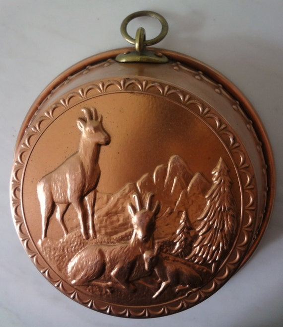Vintage French Copper Dessert Cake Mold Incredible Detail with Mountain Goats Mountains Trees and Swag