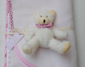 Baby Girl Blanket and Teddy Bear / Adorable Baby Shower Gift / Double Sided / Light Fleece / Gingham Cotton / Generous Size / Cream / Pink