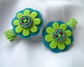 Apple Green and Teal Felt Flower - Hair Clips with Tessa Ann Buttons