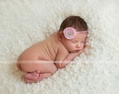 Baby Headband or photoprop - Pink Princess Vintage Style Crystal Button Blossom Flower
