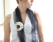 SINGAPORE : fabric FLOWER BROOCH - white, bronze organza &  black lace - Ooak - Recycled fabric - handmade in Italy