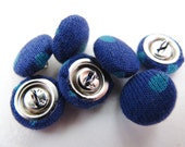 FABRIC BUTTONS - deep blue and sky blue
