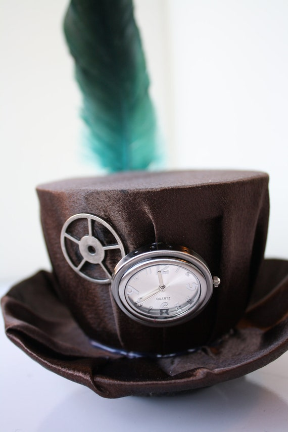 Brown Mini Steampunk Hat with Clock