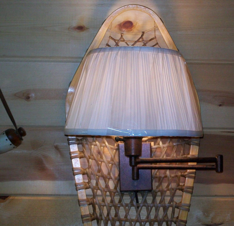 Rustic Snowshoe Wall Lamp Cabin Lodge Decor Light