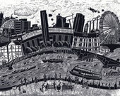 London- Tales from the riverbank. Mounted print.