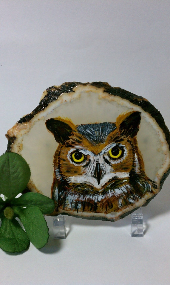 Owl Painting On Agate Stone