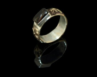 Black coral ring in sterling silver with fused 18k gold