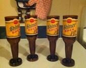 Upcycled Shiner Bock beer bottle wine glasses