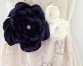 Navy and Ivory Bridal Sash - Bridal Belt- Bridesmaid Sash - Lush Fabric Flower Cluster Sash With Rhinestone Centre - CRAFERS