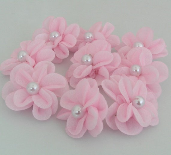 Organza Flower Applique Padded Flower Embellishment with Pearl Center- 12 Pieces Pink