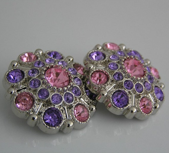 Light Pink/Purple Flower Centers Acrylic Rhinestone Button Embellishments-27mm-Set of 2- Limited Quantities Flower Centers