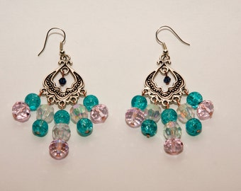 Pink and Turquoise Glass Bead Earrings
