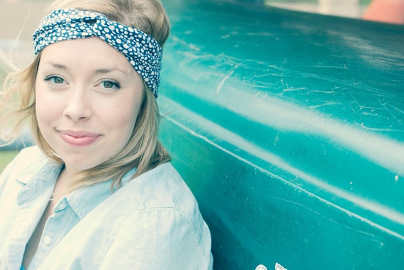 Navy Polka-dot Turban Headband