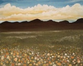 Rolling Clouds Over Dry Rose Meadow Mountain Scape Print