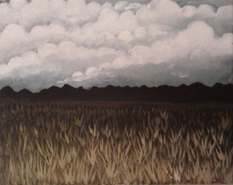 8 X 10 Gloomy Dry Meadow on a Cloudy Day Painting