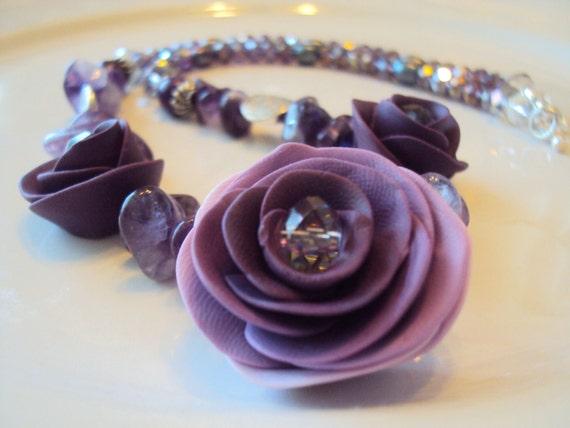 Amethyst Crystal Rose Garden Necklace
