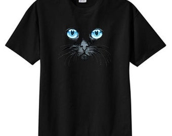 Black Cat Blue Eyes T Shirt, S M L XL 2X 3X 4X 5X