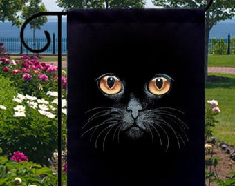 Yellow Eyes Black Cat New Small Garden Yard Flag, Banner, Wall Hanging