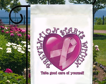 Prevention Starts Within New Small Garden Flag, Breast Cancer Awareness