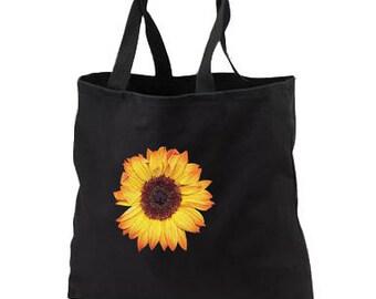 3D Sunflower Puff New Black Tote Bag, Gorgeous Lifelike