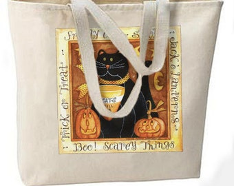 Fraidy Black Cat Halloween New Large Tote Bag, Shopping, Trick or Treat