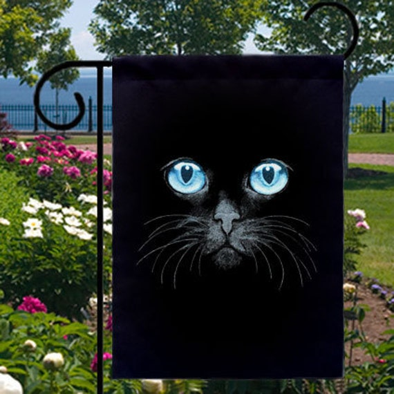 Blue Eyes Black Cat Small Garden Flag Home Decor Gifts Events