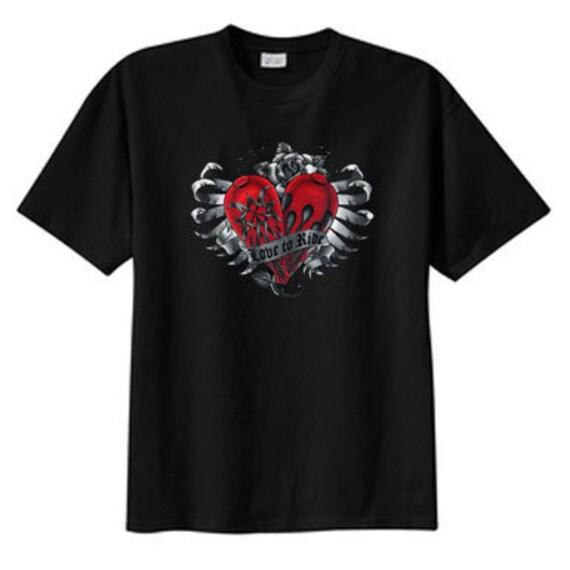 Love To Ride Biker New T Shirt S M L XL 2X 3X 4X 5X, Tattoo Art Gothic