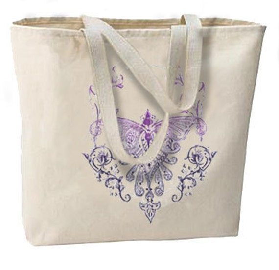 Tattoo Art Violet Butterfly Moth New Oversize Tote Bag, Shopping, Overnight, Vacation, Getaways