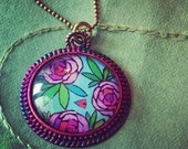 ROSEbud Garden  Cannabis ART Pendant with chain