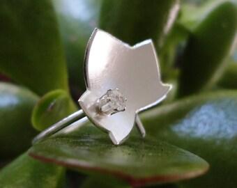 Handmade Silver Ivy Love Leaf Ring
