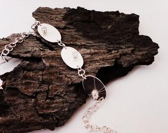 Handmade Recycled Sterling Silver Bracelet, Single Starburst Gemstone Bracelet, Artisan Jewelry