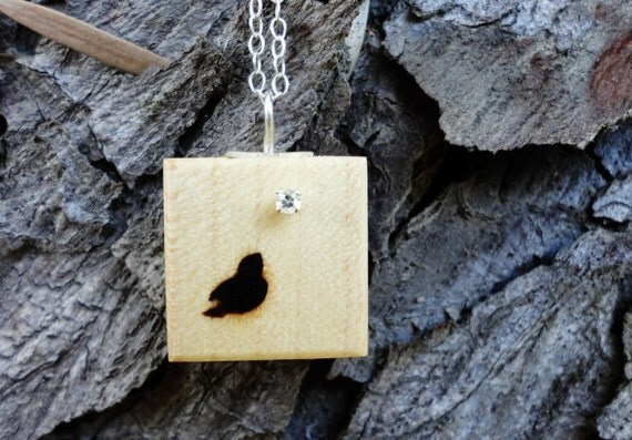 Handmade Sterling Silver and Wood Little Bird Maple and Silver Necklace