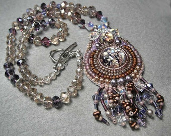 Bead Embroidery Necklace - Anastasia - Glass Cabs, Swarovski and Crystal Handcrafted Necklace