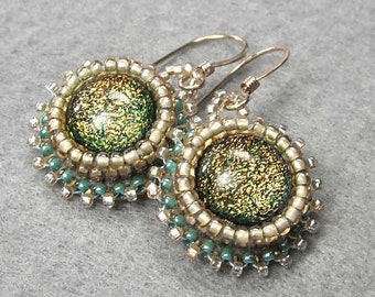 Dichroic Dangle Earrings, Gold Filled French Earwires, in Shades of Gold and Green - Shinara