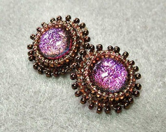Clip On Earrings, Dichoic Pink Bead Embroidery Earrings - Morning Sunrise
