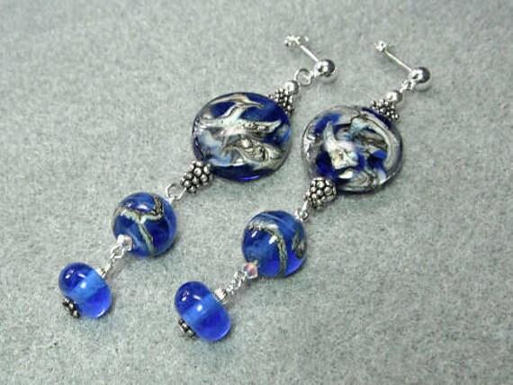 Lampwork Earrings, Sterling Silver Post Dangle Earrings - Where the Ocean Meets the Shore