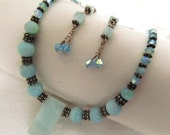 Soft and Regal Blue Egyptian Style Necklace and Earing Set Upcycled