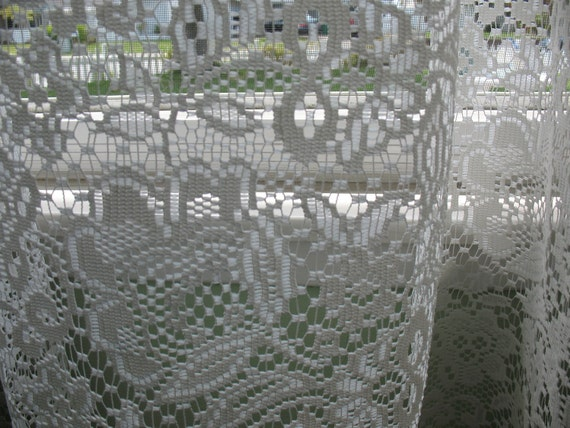 "Vintage Shabby Chic Lace 84"" curtains, for the cottage home"