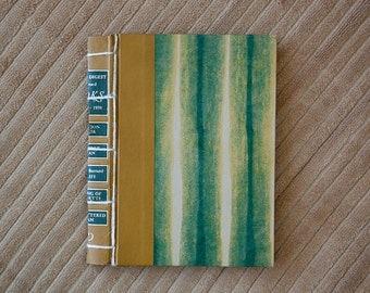 green striped vintage hand made journal // hard bound journal