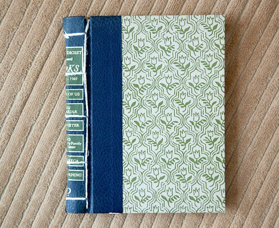 green vintage hand made journal // hard bound journal