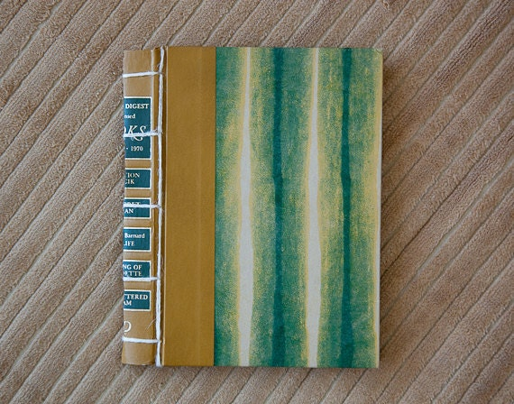 green striped vintage hand made journal // hard bound journal