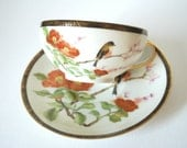 Vintage chinese/japanese tea cup and saucer-Bird,cherry blossom,peony-Lithophane cup-Home decor