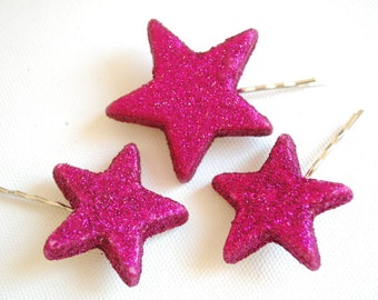 Set of Three Glitter Sparcle Stars on Bobby Pins, Pink Girl Star Hair Clip, Photo Prop, Hollywood Disco Birthday Party, Twinkle Pink  Stars