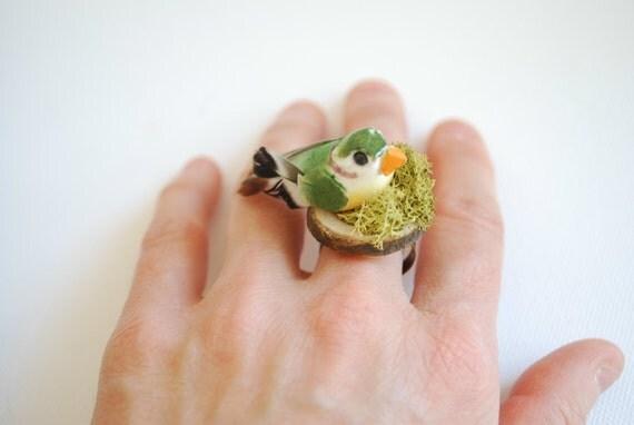 Cute bird-Spring ring-Woodland,forest-Woodland wedding,geekery-Nest,moss,wood.