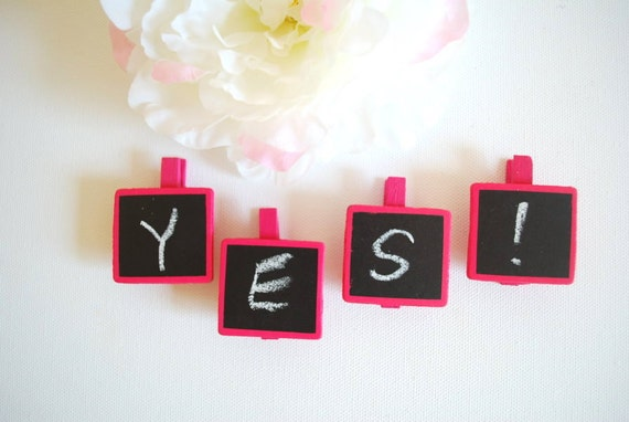 Mini chalkboards on a clothespin-Set of four (4)-Pink black-Weddings,decor,signage,birthday,gift tag,rustic,shabby chic