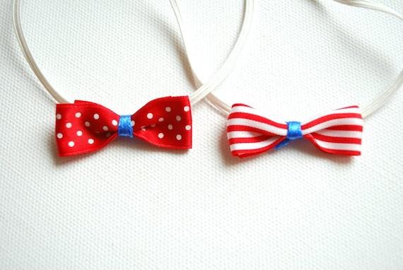 Cute satin bow on a skinny elastic headband-Set of two (2)-Polka dots,striped,nautical-Newborn,twins,baby photo prop,flower girl.