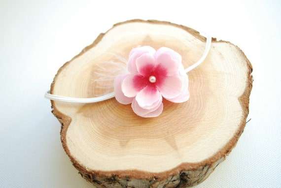 Cute cherry blossom on a skinny elastic headband-Newborn,baby photography prop,flower girl-Pink flower