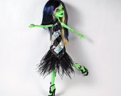 Monster High black and silver sequin and feather trim dress for a Black and Bloody Tie event