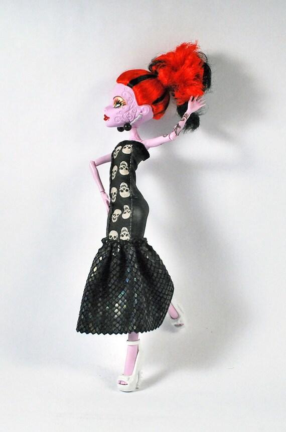 Monster High handmade fashions black VaVa Voooom evening dress with skulls and faux snake skin
